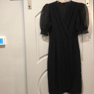 Vintage black puff sleeve, faux wrap dress.